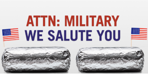 Chipotle: BOGO Burrito, Bowl, Salad or Tacos For Military Members & Spouses (November 11th)