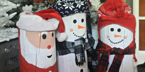 DIY Painted Santa and Snowman Logs