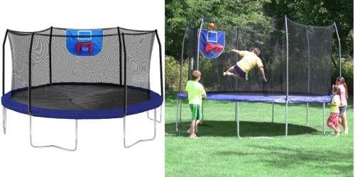 Amazon: 15ft Jump N' Dunk Trampoline w/ Safety Enclosure AND Basketball Hoop $249.99 Shipped