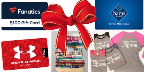 Flash Giveaway: Enter to Win $100 Gift Cards to Under Armour, Sam's Club, Fanatics & More