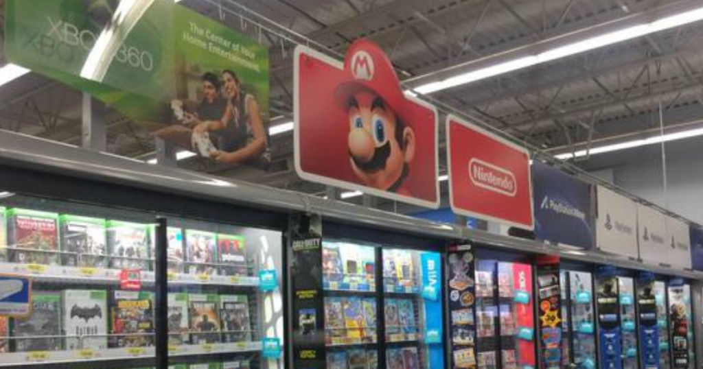 store with video game titles on display