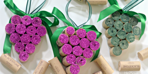 DIY Wine Cork Grape Christmas Ornaments