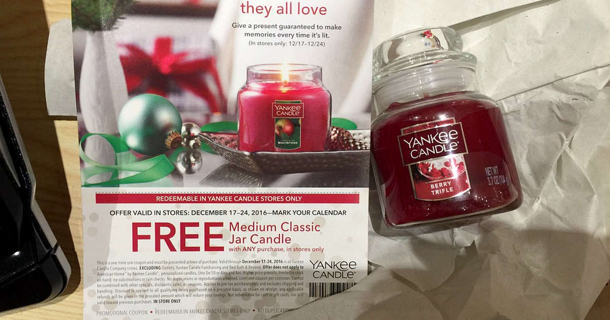Yankee Candle: $10 Off $10 Purchase Coupon = 99¢ Small Jar ...
