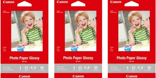 10 Packs Canon 4×6 Glossy Photo Paper 50 Count Sheets Only $9.99 Shipped (Just $1 Per Pack)