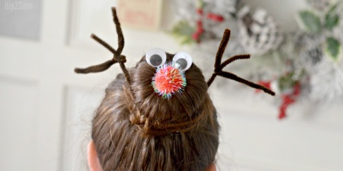 Rudolph Hair Bun (Easy Last-Minute Christmas Hairstyle)
