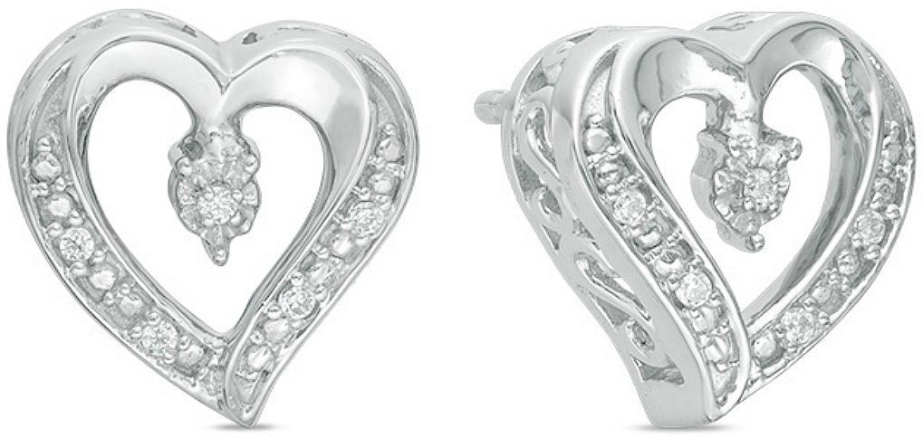 78b904580 Zales: Sterling Silver Diamond Accent Heart Stud Earrings $19.99 ...