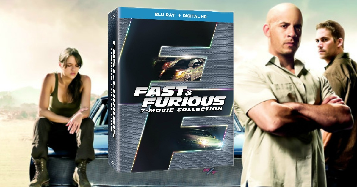 fast and furious 7-movie collection box set with movie shot in background
