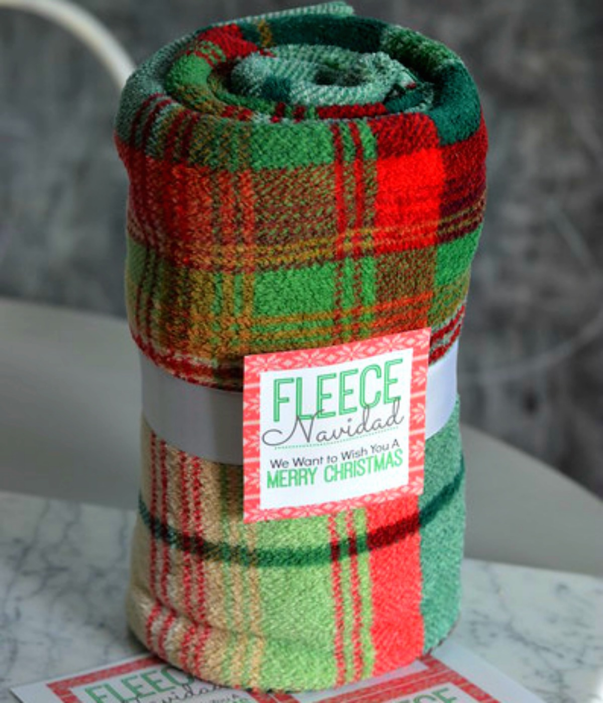 blanket with gift tag