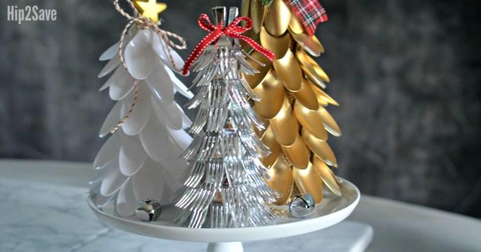 Plastic Spoon & Fork Christmas Trees (Easy Dollar Store