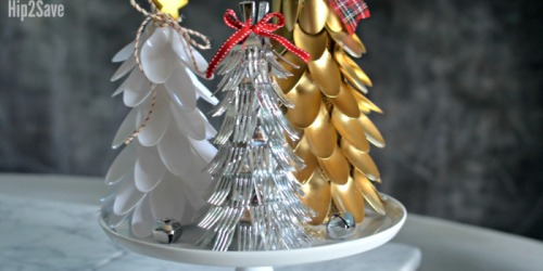 Plastic Spoon & Fork Christmas Trees (Easy Dollar Store Christmas Centerpiece Idea)