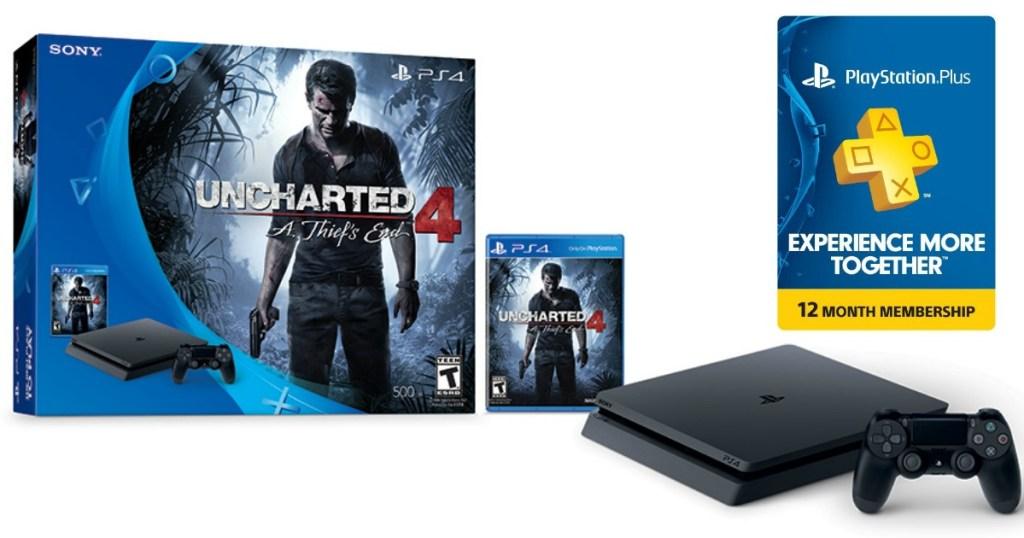 Gamestop Ps4 Slim Uncharted 4 Bundle 12 Month Playstation Plus
