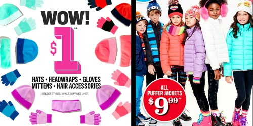 The Children's Place: $1 Cold Weather Accessories, $9.99 Puffer Jackets & More (In-Store Only)