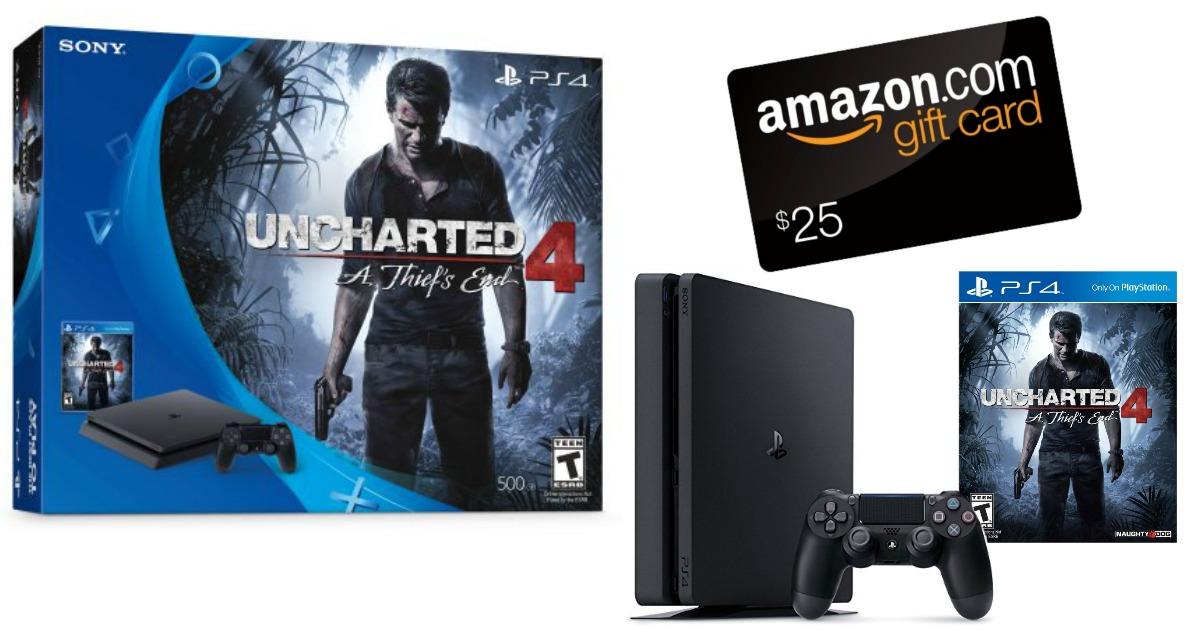 PlayStation 4 Slim Uncharted 4 Bundle + $25 Amazon Gift Card Only $249.96 Shipped (Regularly ...