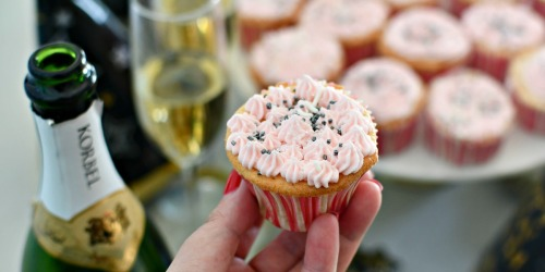 Cheers to Boozy Champagne Cupcakes with Buttercream Frosting!