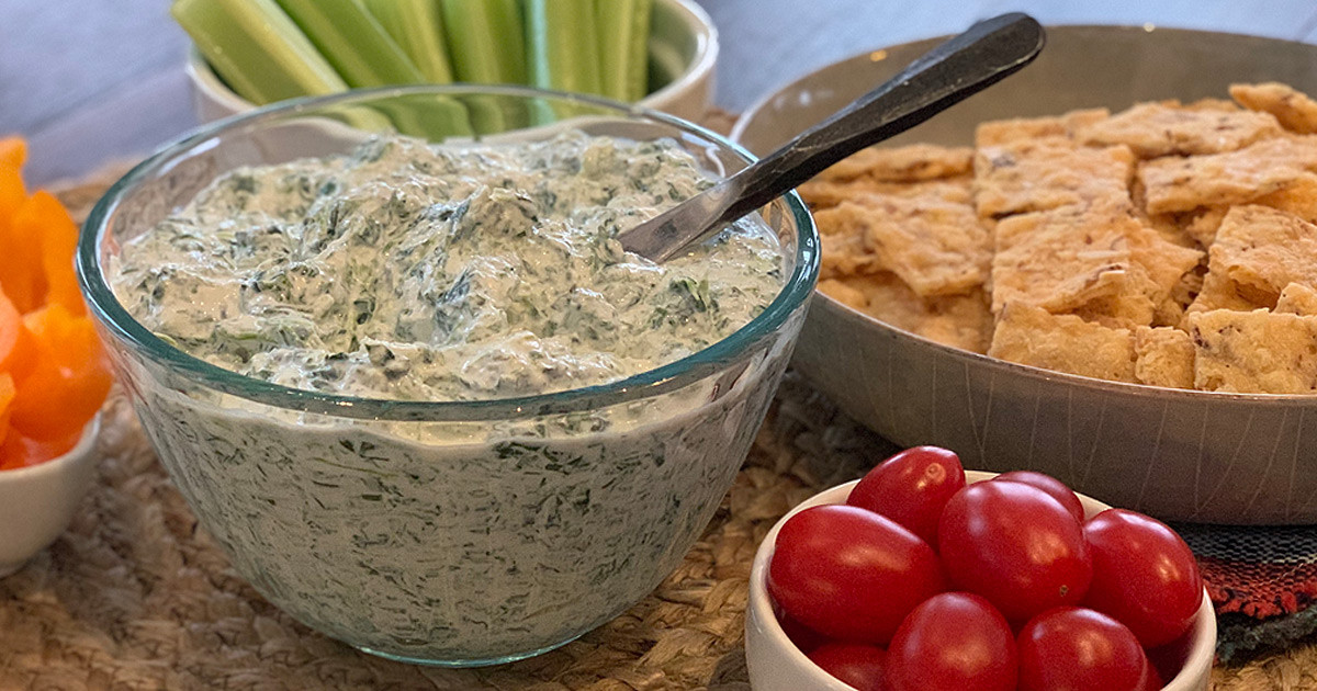 Keto Spinach Dip and crackers