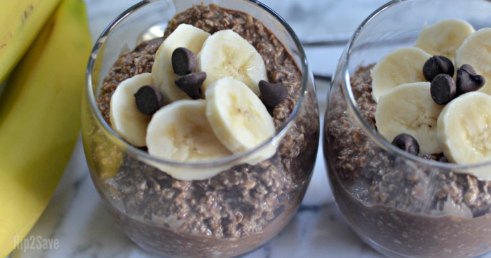 Overnight Oatmeal Ideas - chocolate banana in a glass