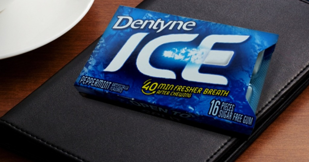 blue pack on gum on wallet