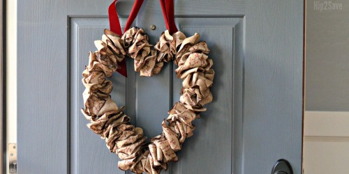Wire Hanger Valentine's Day Wreath Using Leftover Christmas Ribbon