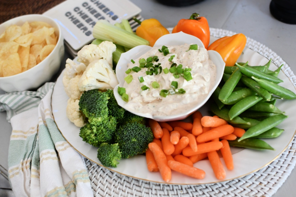 french onion dip with veggies and chips