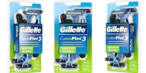 Amazon: Gillette CustomPlus 3 Disposable Razors 4 Count Pack Only $1.84 Shipped
