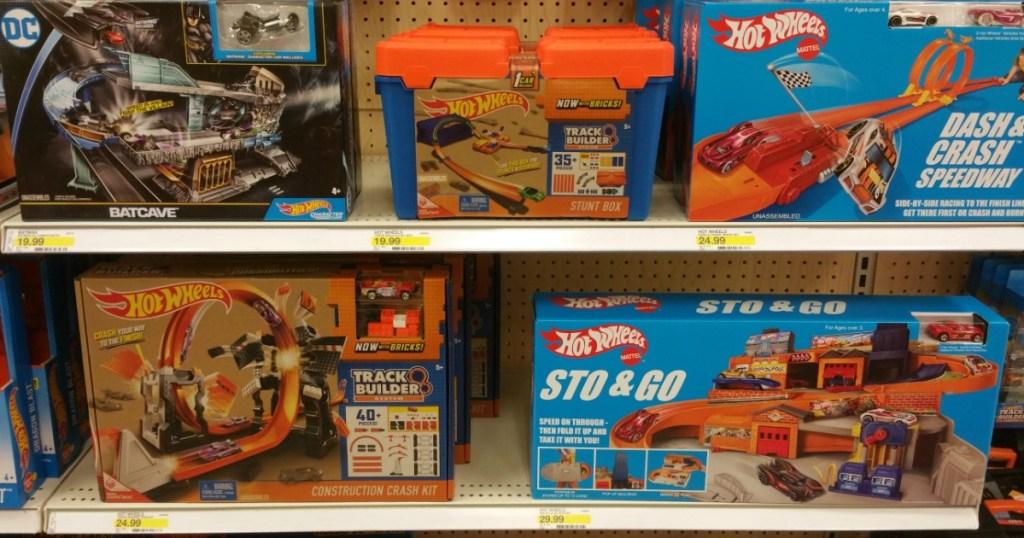 toy car play sets on shelf