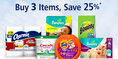 Amazon: Buy 3 Select P&G Items & Save 25% Off Your Order (Nice Deals on Charmin, Pampers & More)