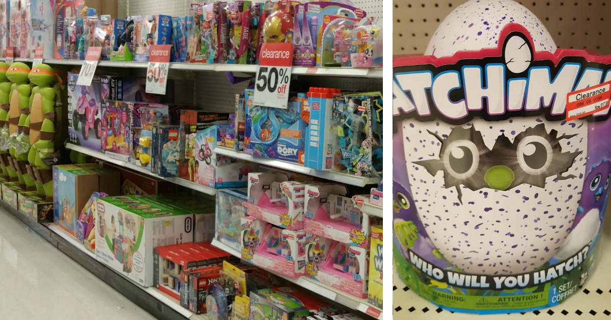 shelves showing discount clearance toy pricing at Target