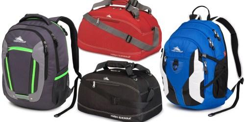 High Sierra Backpacks & Duffels Only $24.99 – $27.99 (Regularly $100)
