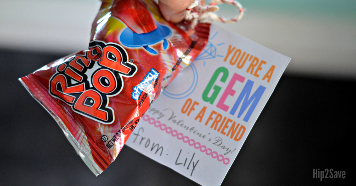 Youre A Gem Of A Friend Ring Pop Valentines Day Idea