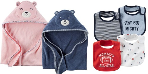 Kohl's Cardholders: Carters Hooded Towels & 4 Pack Bibs Only $6.72 Each Shipped (Reg. $24)
