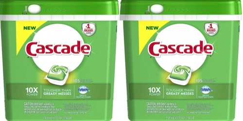 Amazon: Cascade ActionPacs Dishwasher Detergent 105-Count Only $13.90 Shipped (Just 13¢ Per Load)