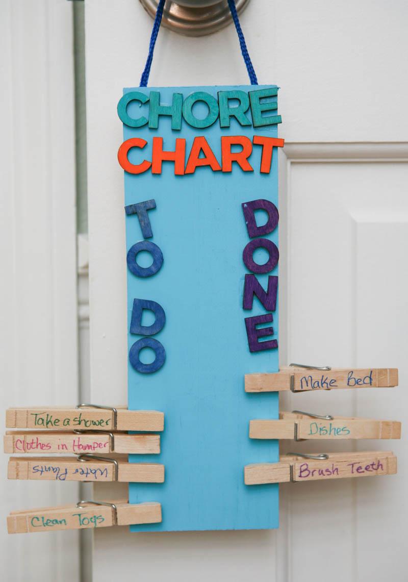 Clothespin DIY Chore CHart