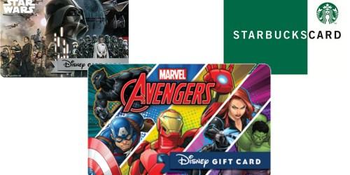 Disney Movie Rewards: $5 Disney Gift Card ONLY 550 Points or $10 Starbucks Gift Card 1,100 Points