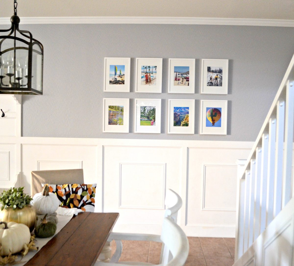 a gallery wall with 8 framed photos