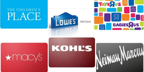 eBay: Save on Gift Cards (Lowe's, The Children's Place, ToysRUs, Macy's & More)