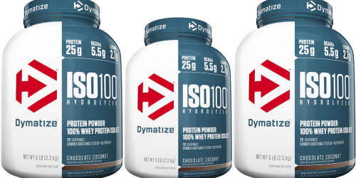 Amazon: Dymatize Iso 100 Chocolate Coconut Whey Protein Powder 5 Pound Container Only $19.42