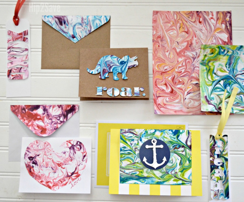 dollar tree summer diy project to make marble paper