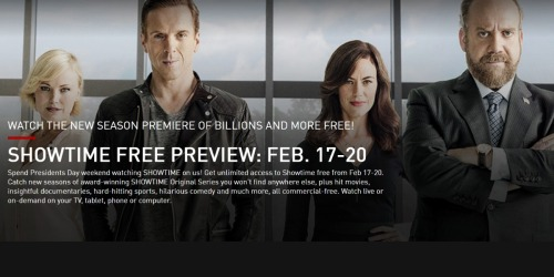 FREE Showtime Presidents Day Weekend (2/17-2/20)