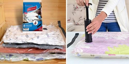 Amazon: 8 Pack Jumbo Vacuum Storage Bags w/ Pump Only $15.99 (Regularly $24.99+)