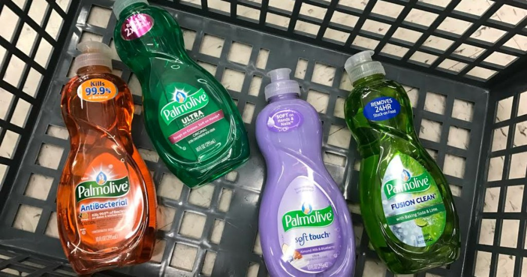 Palmolive dish soaps in basket of Walgreens