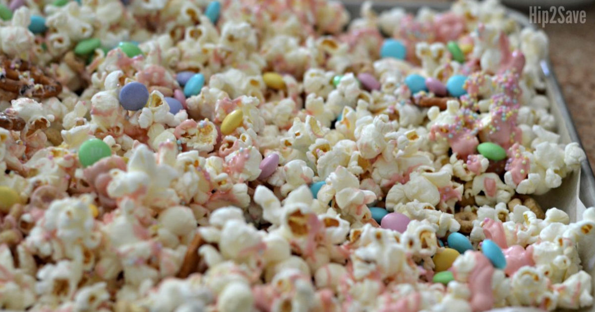 bunny bait easter popcorn snack on the tray