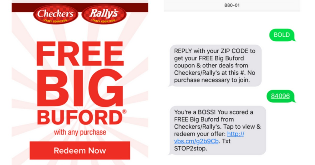 graphic regarding Checkers Coupons Printable named Rallys / Checkers: Cost-free Substantial Buford Burger With Any