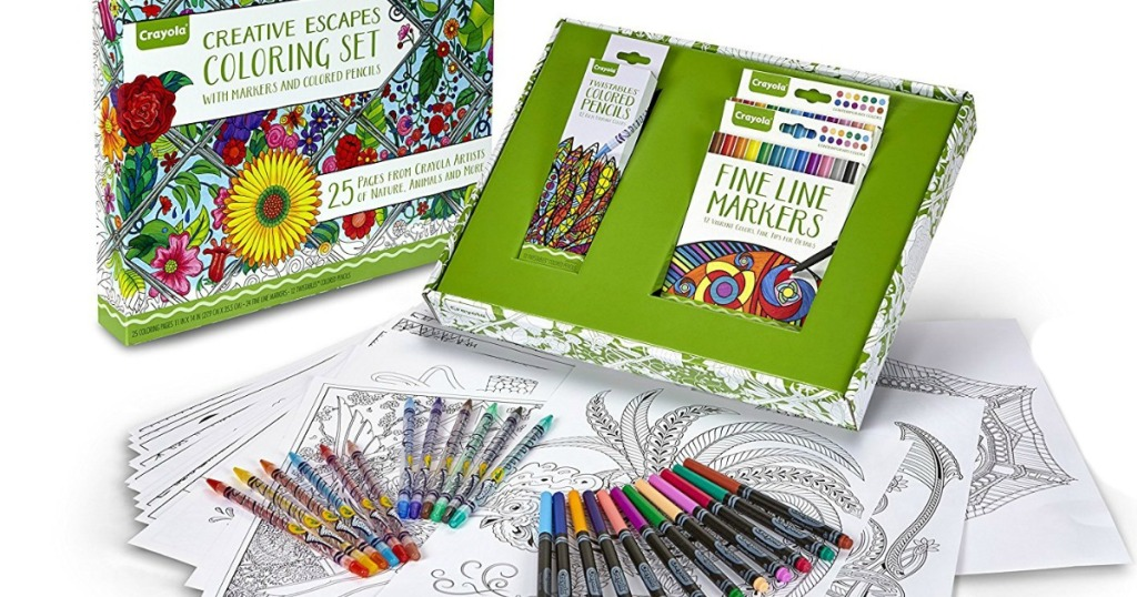 Amazon: Crayola Adult Coloring Book & Marker Art Activity Set Only ...