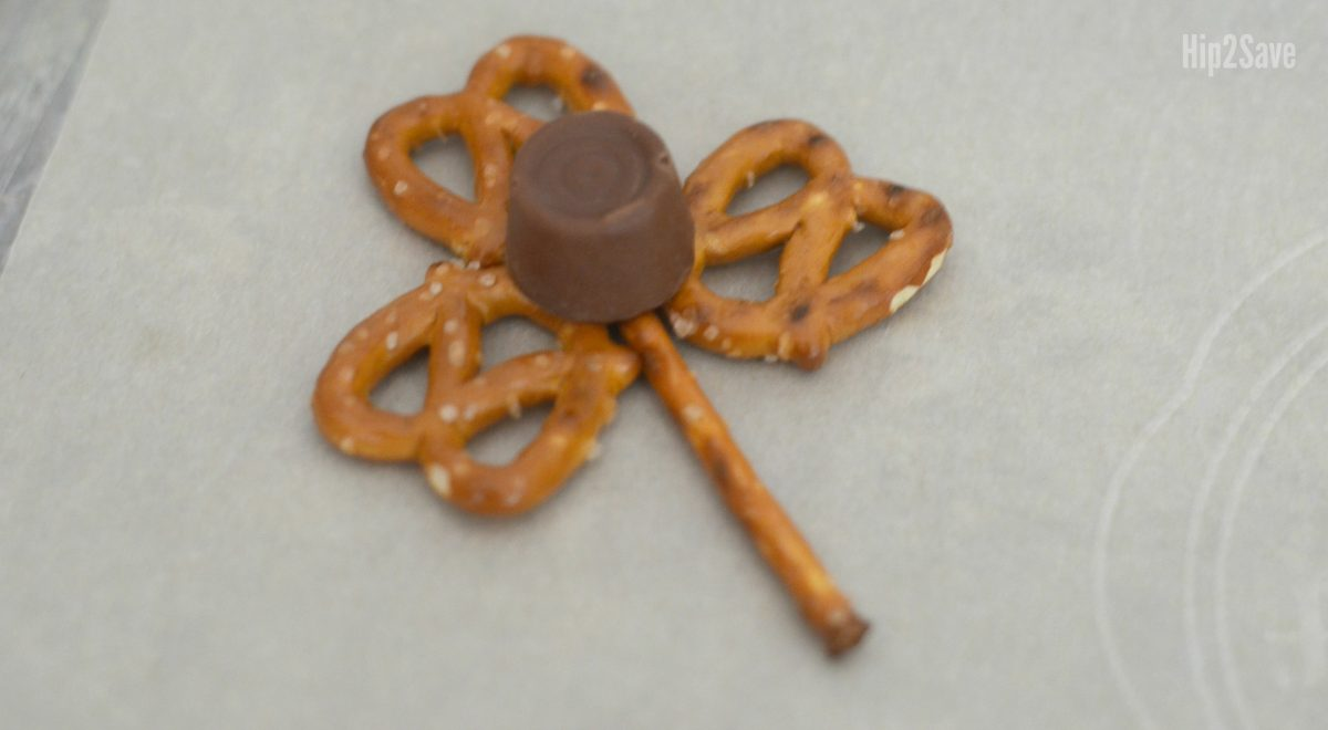 shamrock assembly with a rolo on top of the pretzels and prior to heating