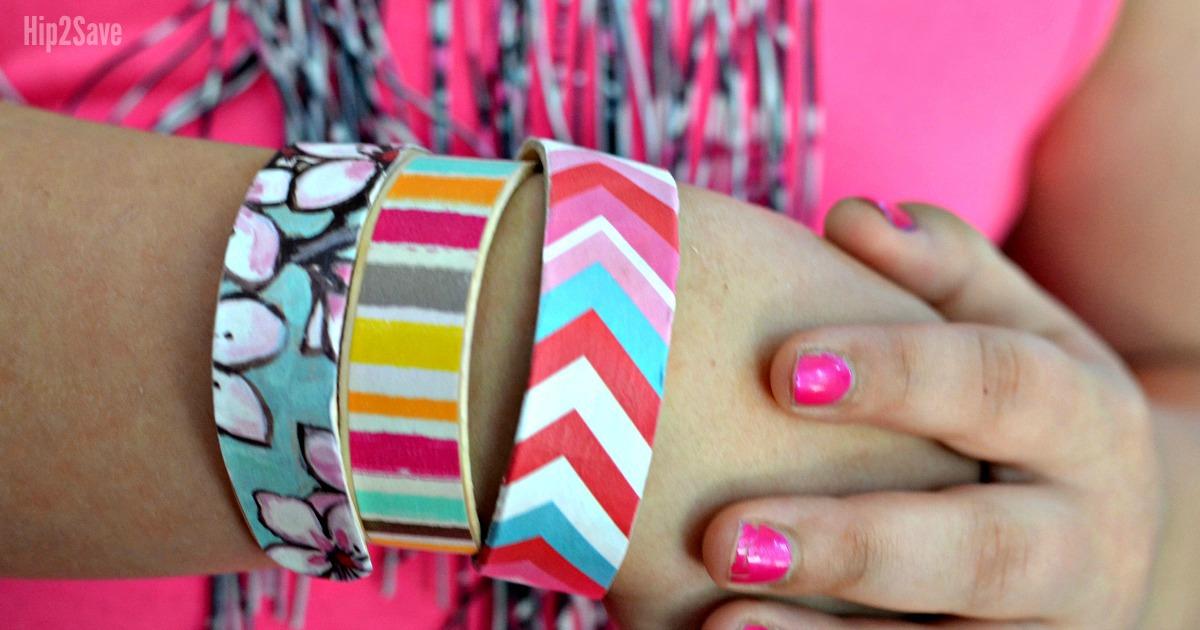 girl wearing wooden diy bracelets
