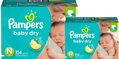 Amazon Family: 104 Pampers Baby Dry Newborn Diapers Only $15.54 Shipped (Just 15¢ Each)
