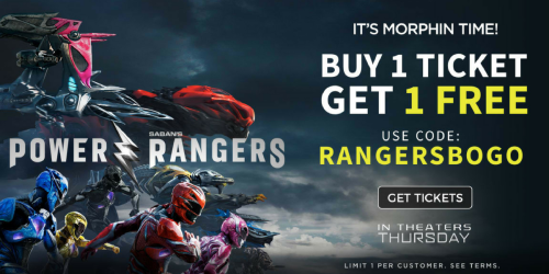 Atom Tickets: Buy 1 Get 1 FREE Power Rangers Movie Tickets