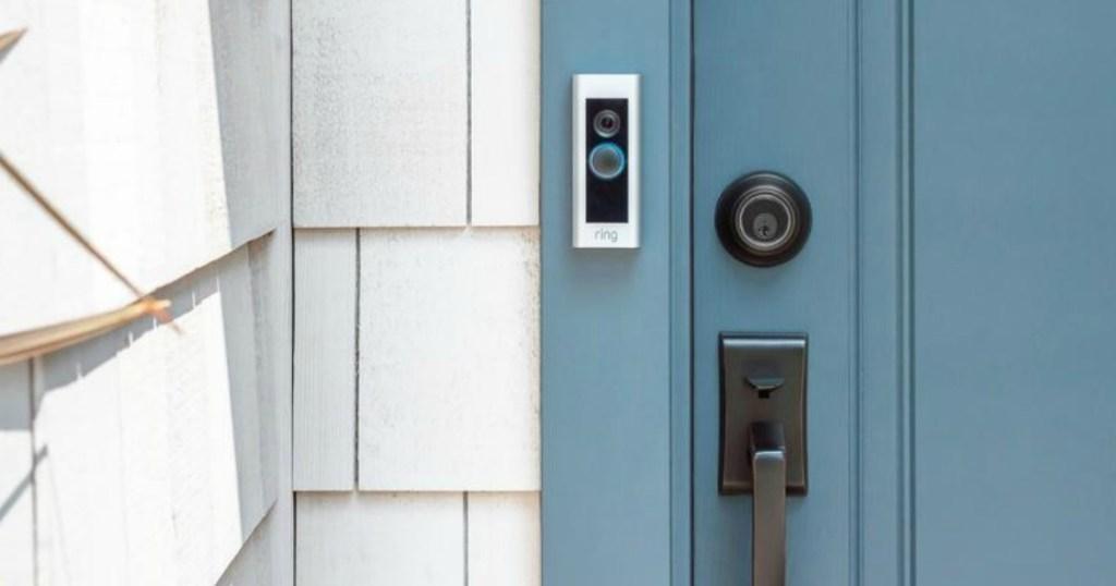 Ring video doorbell on door