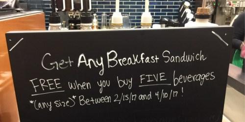 Starbucks Fans! FREE Breakfast Sandwich When You Buy 5 Coffee Beverages