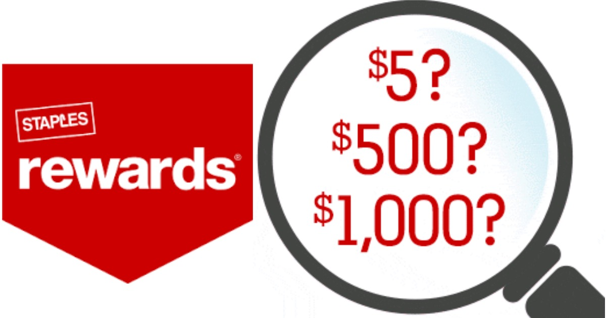 staples rewards members   5- 1 000 mystery reward valid in-store only  check inbox